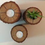 Eikenhouten kandelaars en bloempotje # 18 VERKOCHT